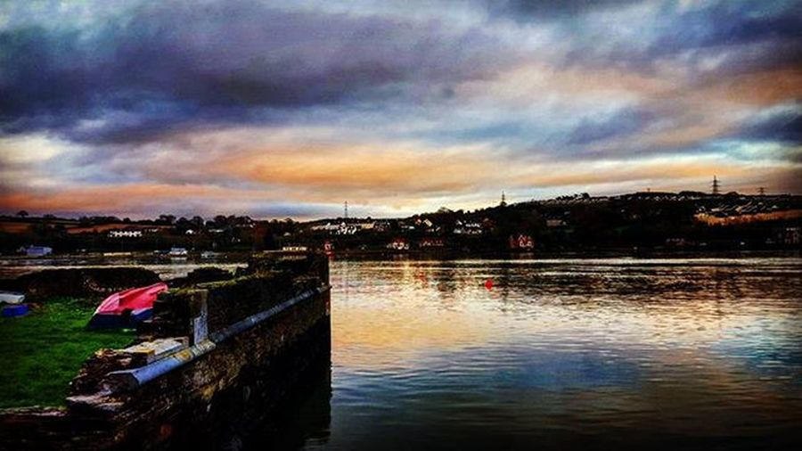 Monkstowncork Monkstown Glenbrook Cork Sea Sunset Clouds Oceanside Seaside Insta_ireland Hellocork_ beautiful breathtaking view of the sunset and clouds reflecting on the water besides glenbrook walk. @hellocork_ Reflection Harbour