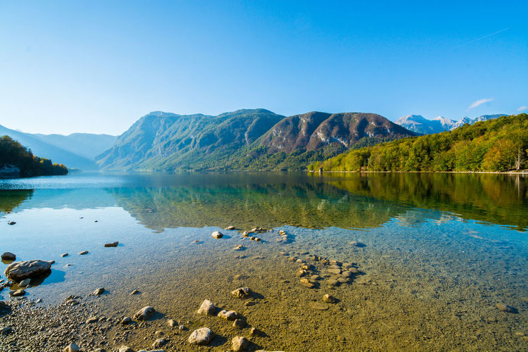 Nature Sky Day Bohinjsko Jezero Water Scenics - Nature Mountain Tranquil Scene Beauty In Nature Tranquility Lake Reflection No People Mountain Range Non-urban Scene Idyllic Clear Sky Blue Copy Space Land