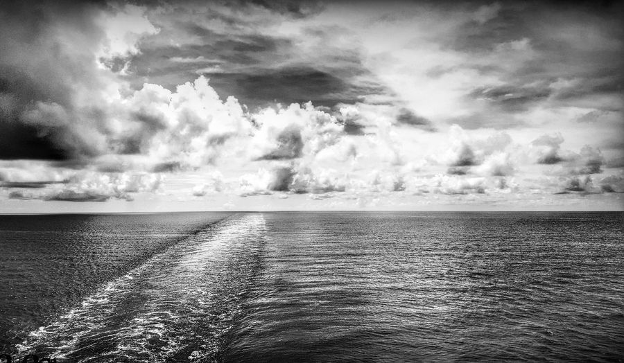 Wake of a ship..!! 🚢🚢 Cloud - Sky Beauty In Nature Scenics Tranquil Scene Outdoors Tranquility No People Nature Beauty In Nature EyeEm Best Shots EyeEm Gallery EyeEm Best Edits EyeEm Horizon Over Water Exceptional Photographs Dramatic Sky EyeEm Best Shots - Nature EyeEm Nature Lover Black & White Water Sky Day Wake Of Ship Monochrome Photography Sea