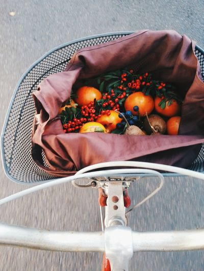 Fruits in bicycle basket
