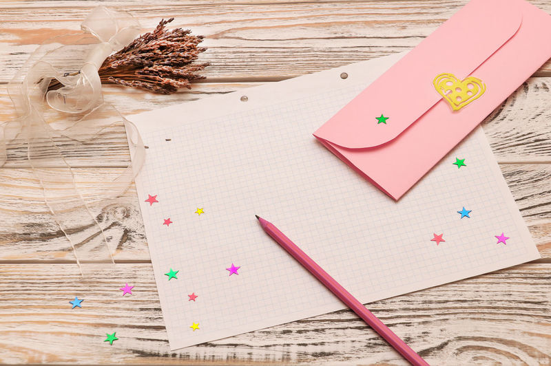 Happy Valentines Day ;) Table Paper Indoors  Still Life Wood - Material High Angle View No People Art And Craft Heart Shape Positive Emotion Pink Color Emotion Creativity Decoration Directly Above Holiday Ribbon Copy Space Congratulate Envelope Message Valentine's Day  Love Letter