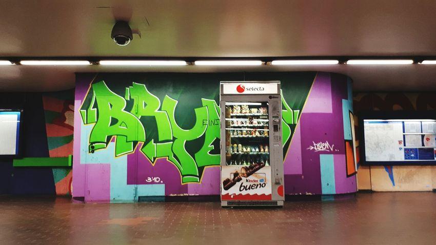 Hannover Underground. Metro EyeEmNewHere Architecture Built Structure Eye4photography  üstra Underground Station  Undergroundphotography Subway Neonlights Indoors  Text Multi Colored Graffiti Automat Streetart/graffiti Streetart