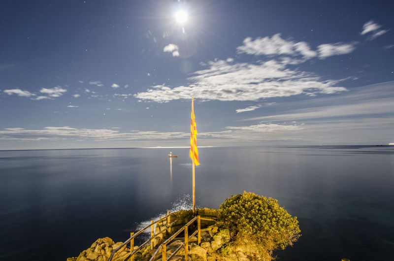 Beauty In Nature Blue Bright Catalonia Catalunya Cloud - Sky Horizon Over Water Lens Flare Mediterranean  Moonlight Nature Night No People Non-urban Scene Reflection Scenics Sky Sun Tranquil Scene Tranquility Water Overnight Success The Secret Spaces Breathing Space Capture Tomorrow