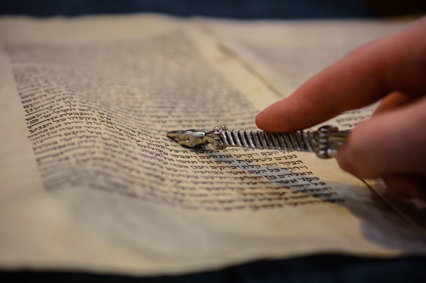 Jewish Reading Torah YaD Bar Mitzah Close-up Day Human Body Part Human Hand Indoors  One Person People Pointing Real People Religion Religious  Selective Focus Skill  Working