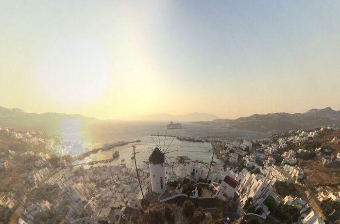 Mykonostown Greece Holiday Sunset Sea And Sky Freedom