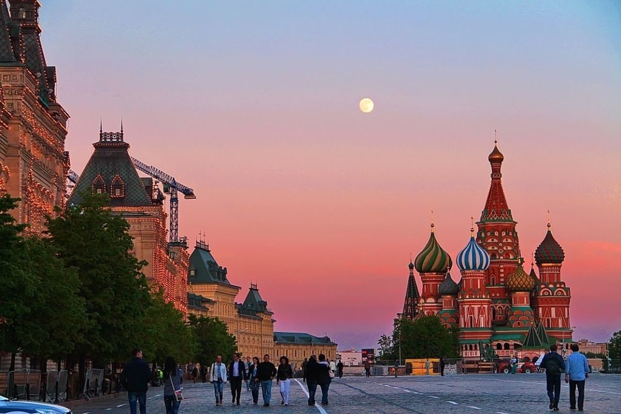St. Basil Cathedral On Red Square At Dusk