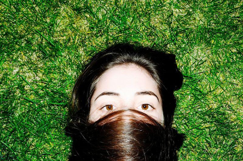 Girl Young Spring Green Grass Love Eyes Hair