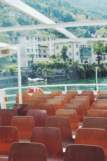 Boat trip on the Lake Maggiore Absence Arrangement Ascona Boat Trip Chair Day Empty In A Row Lake Locarno Maggiore Nature No People Outdoors Seat Side By Side Sight Sightseeing Summer Switzerland Tranquility Travel Traveling Lago Maggiore Maggiore Lake