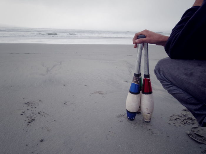 Beach Day For Gloomy Day Horizon Over Water Juggling Outdoors Pins Sand Sea Surfing Waiting Water