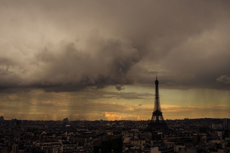 View from Arc de Triomphe Eiffel Tower Orange Sky Paris Weather Architecture Building Exterior Built Structure City Cityscape Cloud - Sky Crowded Day Duality Eiffel Landmark Nature Outdoors Rainy Paris Residential Building Sky Storm Cloud Sunset Thunderstorm Tower Travel Destinations Been There.