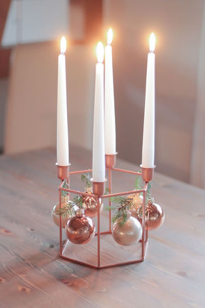 Advent Christmaslights Ornaments Hanging Burning Candle Candles Burning Close-up Copper  Day Flame Focus On Foreground Indoors  Kupfer No People Table White