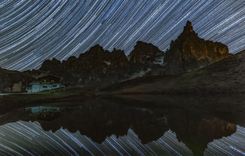 Aerial view of mountain range at night