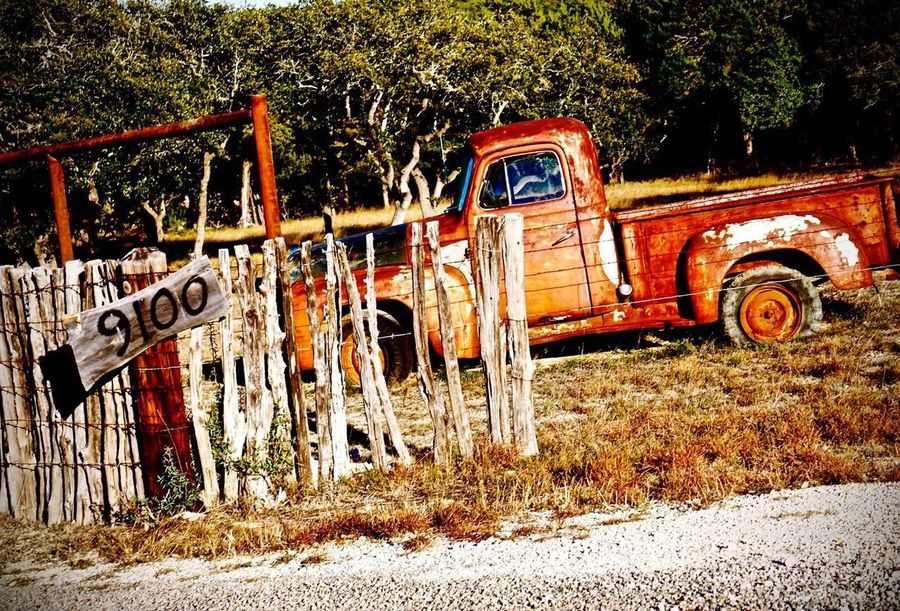 Along The Texas Highways Old-fashioned Truck Deep In The Heart Of Texas (: Rustic Style Rustic Texas Photographer Texas Highway Old Truck Photography Old Truck Transportation Day Grass Nature