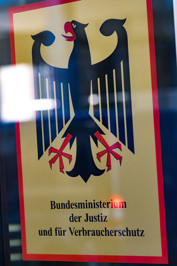 Sign of Bundesministerium der Justiz und für Verbraucherschutz (BMJ), German Federal Ministry of Justice and Consumer Protection Government Ministry Ministry Of Justice Adler Bundesministerium Bundesministerium Der Justiz Close-up Germany No People Sign
