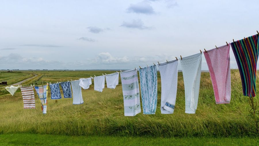 Clothes hanging on clotheslines in field