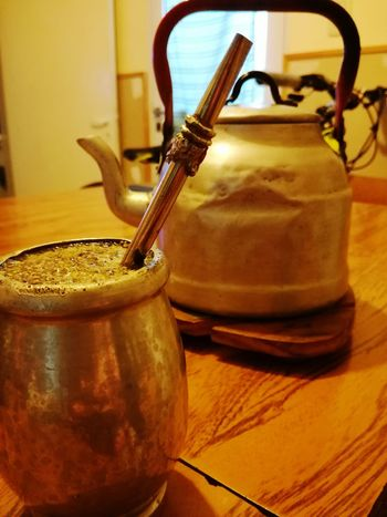 Una costumbre muy argentina Mate Yerba Mate EyeEm Selects Yerba Yerbamate Sweet Pava Table Close-up Served Tea Overhead View Tea Cup Teabag Teapot