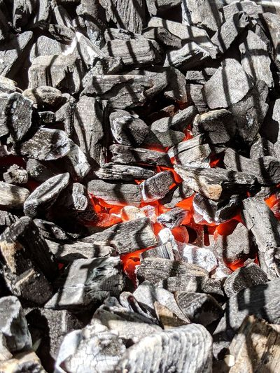 Full frame shot of coal embers