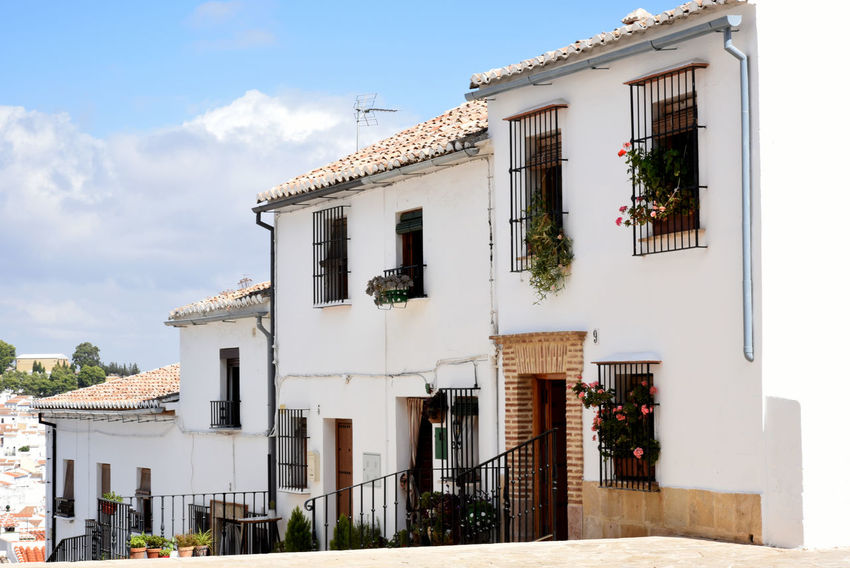 Andalusian houses in Antequera, Málaga White Facade Awning Flower Sky Building Exterior Architecture Façade Place Of Interest EyeEmNewHere