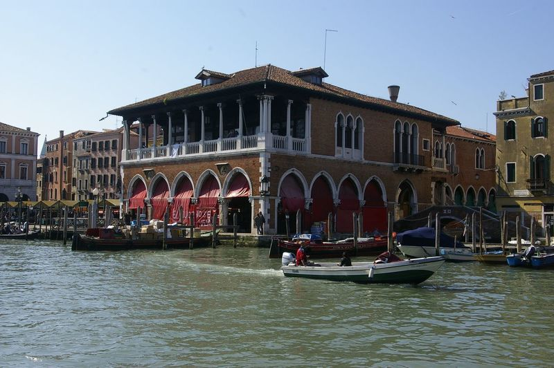the market, nr rialto, Venice . Built Structure Building Exterior Architecture Nautical Vessel Transportation Waterfront Canal City Life Tourism Architecture_collection Venice, Italy Venezia