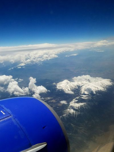 Plane Ride Across The Country Mountains Snow Capped Mountains Cloud Clouds And Sky Blue Sky Blue Sky White Clouds The 2016 EyeEm Awards