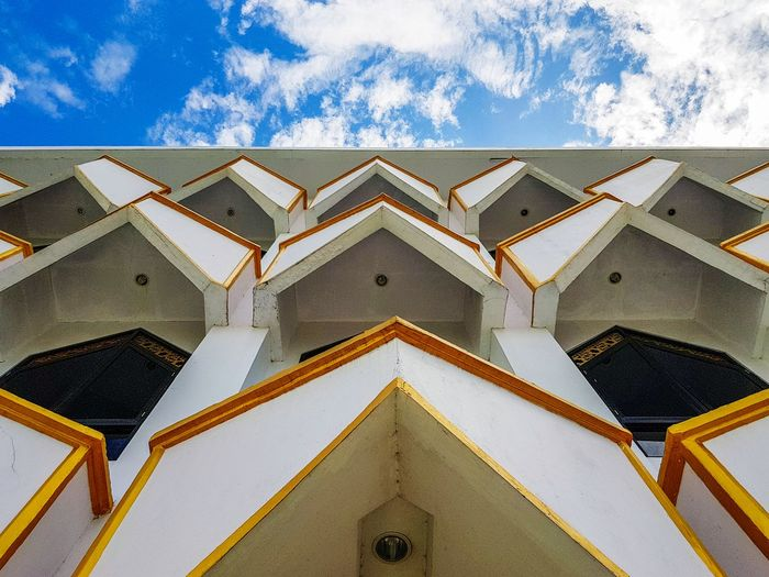 Triangle texture of Darussalam Mosque Triangle Shape Sky Architecture Building Exterior Built Structure Cloud - Sky Geometric Shape Triangle Architectural Detail Architectural Feature Architectural Design Architecture And Art Ceiling