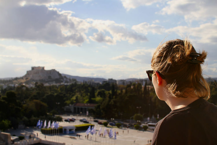 Acropolis Focus On Foreground Headshot Leisure Activity Lifestyles Long Hair Olympic Stadium Outdoors Portrait Sky Sunglasses Vacations