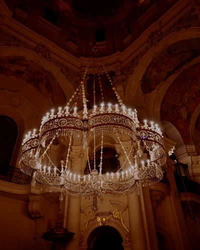 Architecture Chandelier Crystals Inside Church Prague Czech Republic