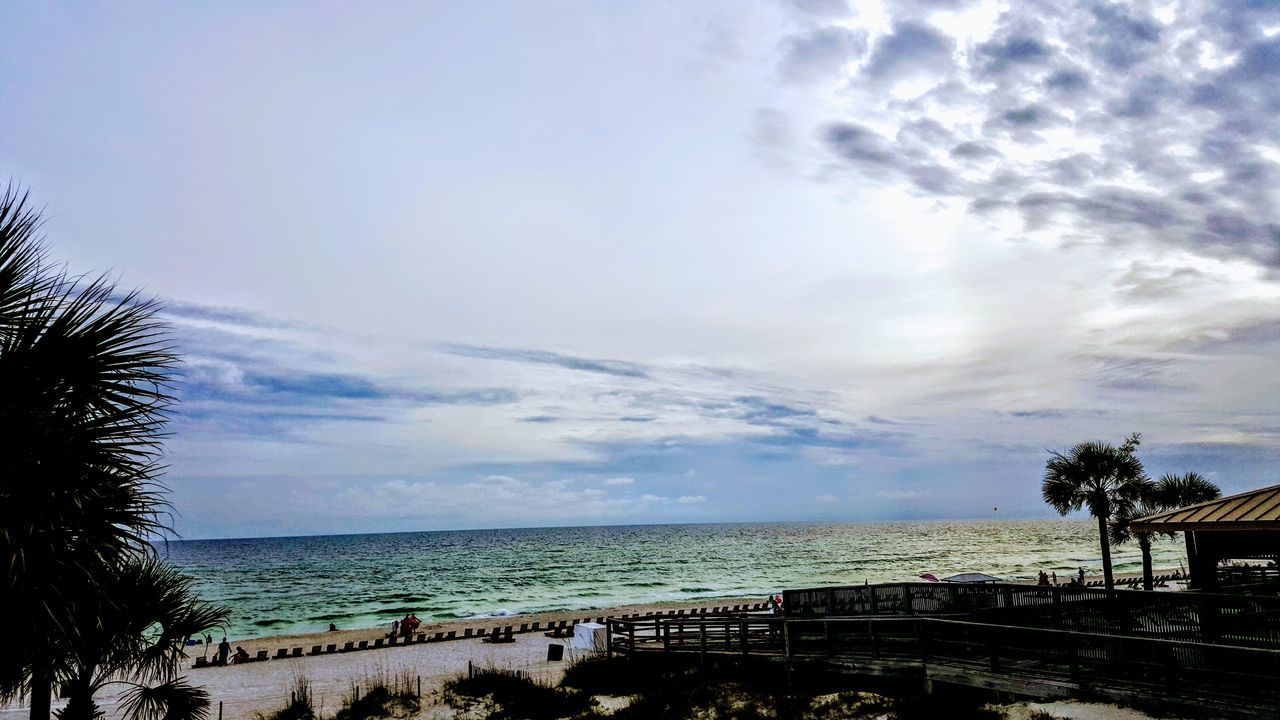 sea, sky, horizon over water, water, scenics, nature, beach, cloud - sky, beauty in nature, outdoors, palm tree, tranquility, no people, tree, day