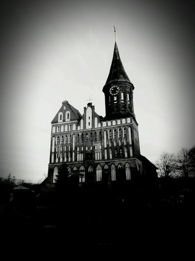 Architecture Built Structure Building Exterior Clock Tower Outdoors Cathedral Mysterious Black&white Blackandwhitephotography Castle Tower Kaliningrad