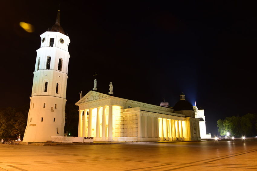 Vilnius Cathedral at night Architectural Column Architecture Building Exterior Built Structure Cathedral Church Clear Sky Façade History Illuminated Night No People Outdoors Place Of Worship Religion Sky Spirituality Tall - High Tower Vilnius Cathedral