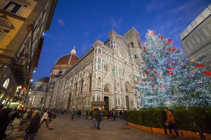 Low angle view of florence cathedral during christmas