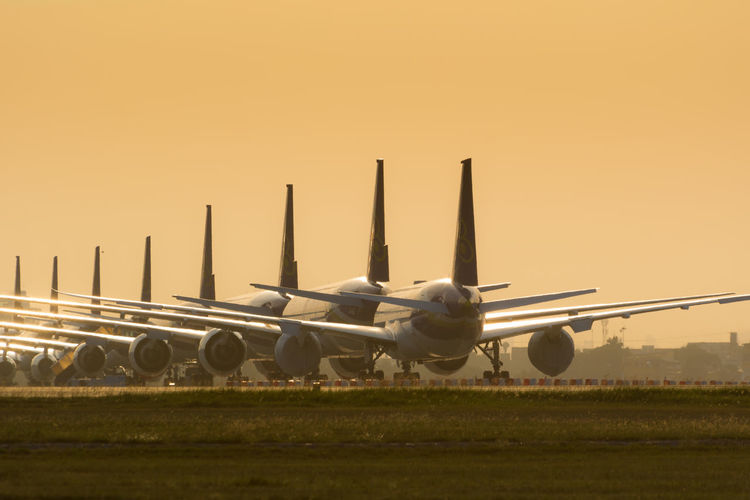 Grounded airplanes due to covid-19 pandemic.