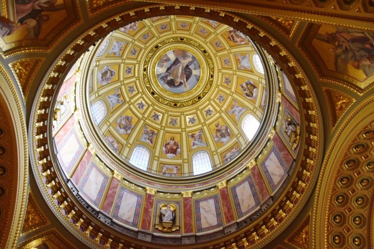 Dome Indoors  Low Angle View Architecture Architectural Feature No People Travel Destinations Religion Day Close-up Fresco Architecture Spirituality Budapest
