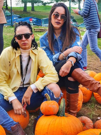 Pumpkin Halloween Sunglasses Day Autumn Outdoors Young Adult Smiling Portrait Young Women Nature People Adult