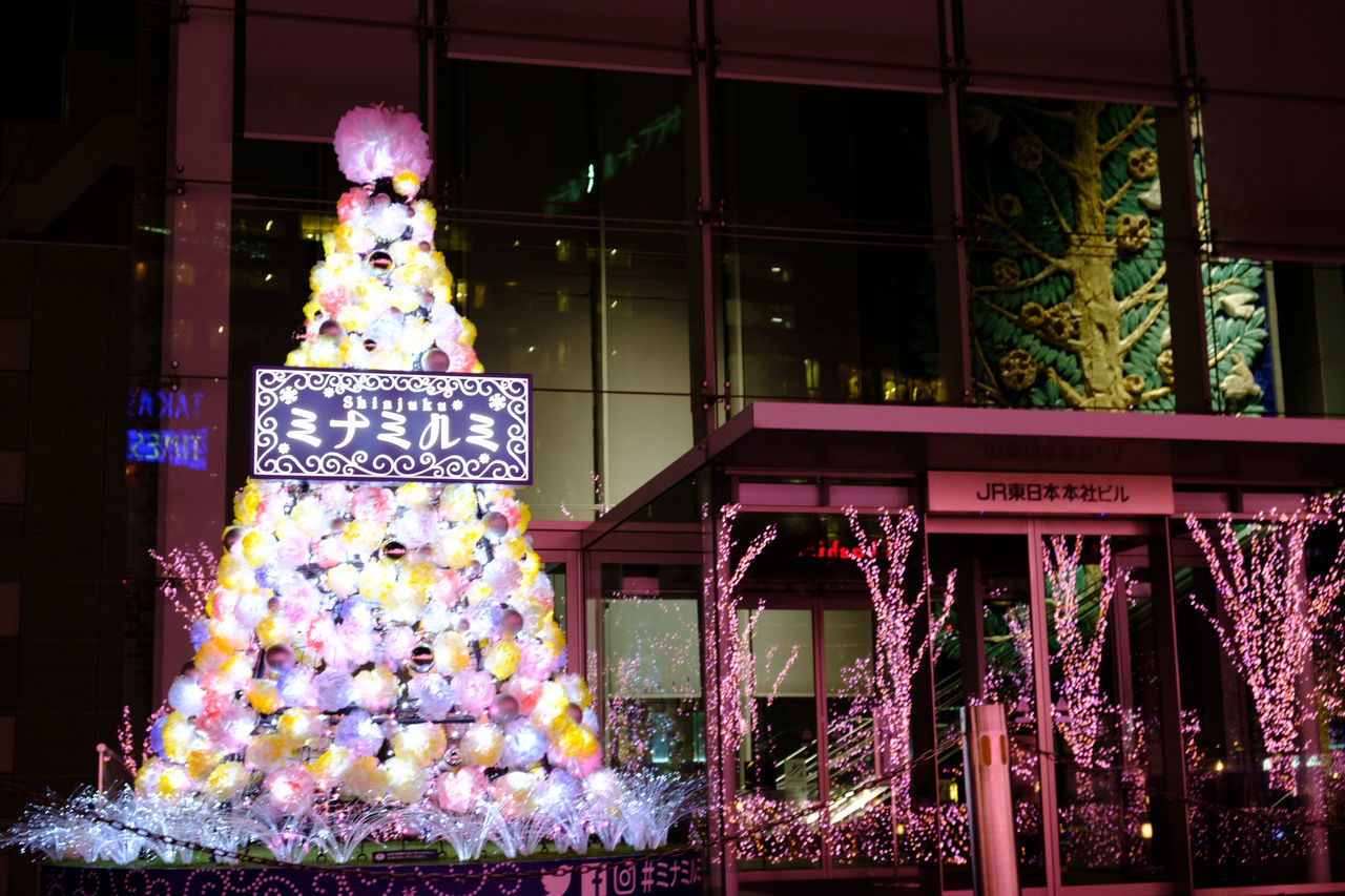 night, text, celebration, flower, outdoors, illuminated, built structure, architecture, communication, building exterior, christmas decoration, no people, christmas, close-up