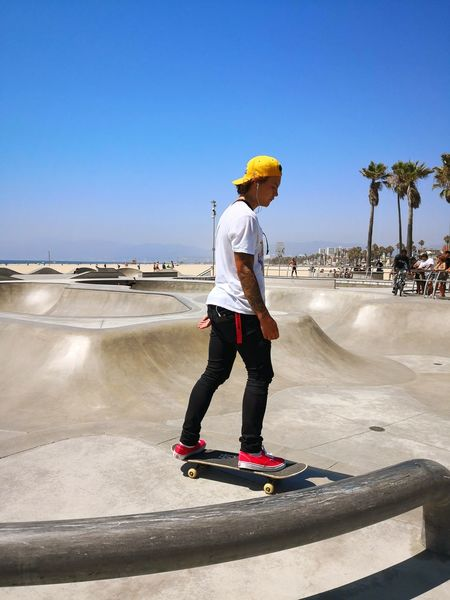Once upon a time in venice beach Skateboard Park Stunt Extreme Sports Headwear Full Length Sport Skill  Beach Standing Men