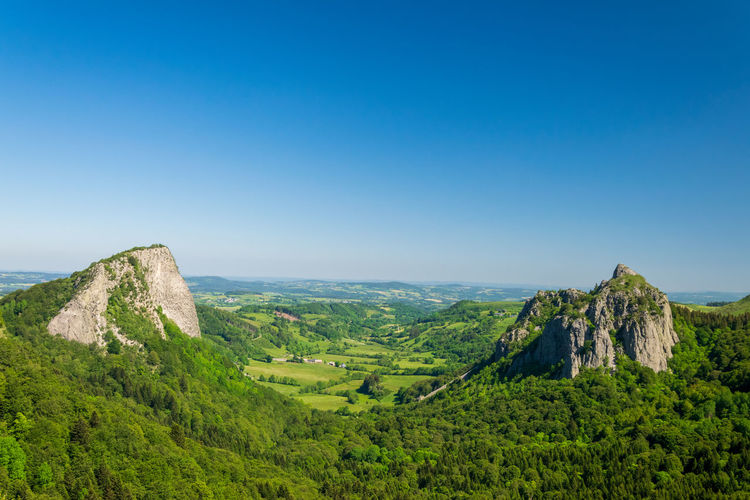 Scenic view of landscape against clear blue sky