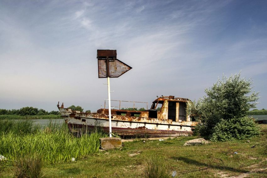 Danube DanubeDelta Sulina WreckedShip Abandoned Danube România Danube Delta ,romania Danube River Day Grass Nautical Theme Nautical Vessel No People Outdoors Rusty Sky Wrecked Wrecked Boat.