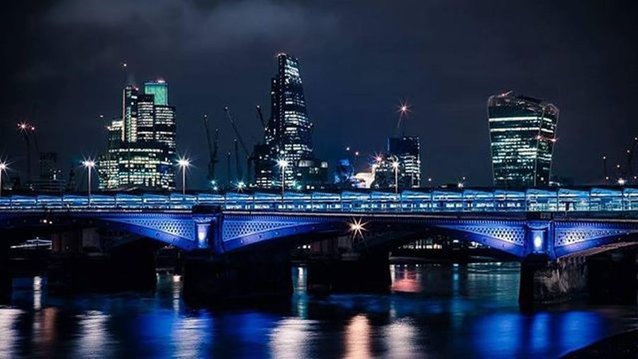 Blackfriars Bridge City Night London Skyline Lights Water River Thames Thamesriver