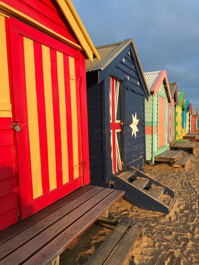 Melbourne Travel Australia Bathingbox Wood - Material Beach No People Striped Outdoors Day Flag Built Structure Architecture Sky Sand
