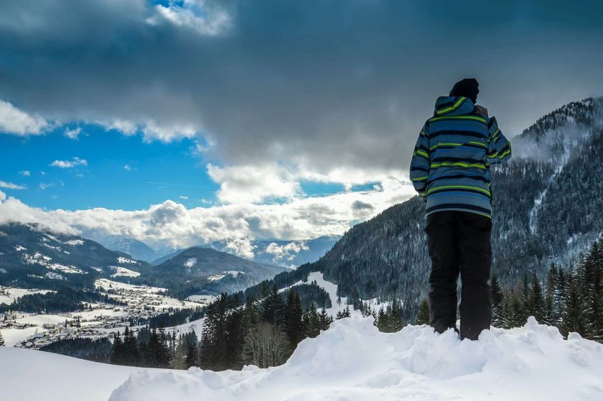 Winter Mountains Mountain View Mountains And Sky Clouds Blue Sky Cold Snow Snow Covered White Hiking Austria Salzburg Brother Person Looking Down Houses Landscape Photography Nature Cold Days Trees Blue Holidays Winter Holidays