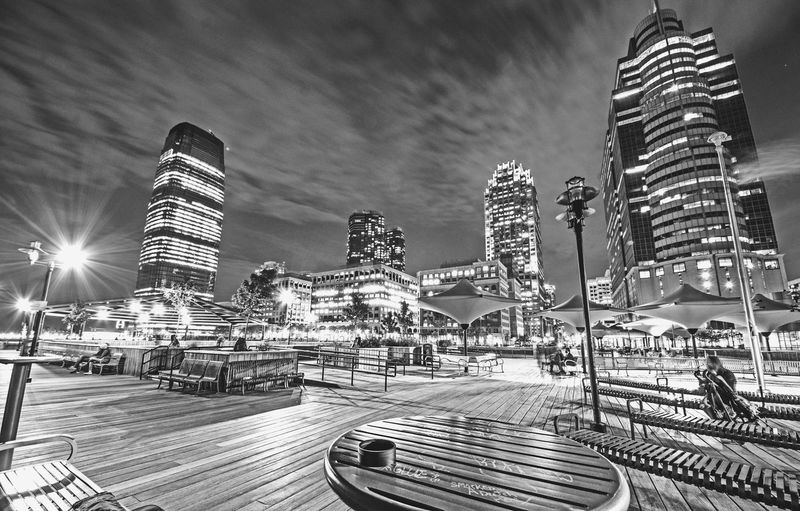 Jersey City Hudson Waterfront Downtown District Waterfront B&w Contrast Wide Angle Skyline EyeEm Best Shots EyeEm Selects EyeEm EyeEm Best Shots - Black + White Night Nightphotography Boardwalk New Jersey City Amusement Park Sky Architecture Building Exterior
