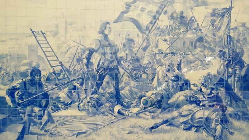 Mural Mural Art Tiles Tile Art Blue Tiles History Portugal Historical Medieval War Conquering