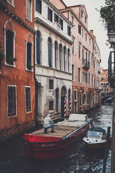 Architecture Building Exterior Built Structure City Day Europe Italy Men Mode Of Transport Nautical Vessel One Person Outdoors People Real People Residential Building Transportation Venice Venice, Italy Water Window