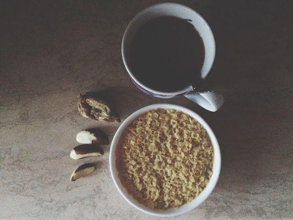 Кофе с молоком 0,5%, бразильский орех, инжир, пшеничные хлопья с молоком)😊