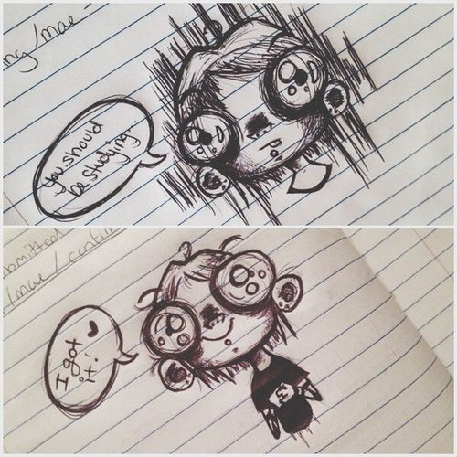 The things I doodle while studying.. Ballpoint Pen Ink Sketch Art Cartoon Doodle Drawing Cute Creepy