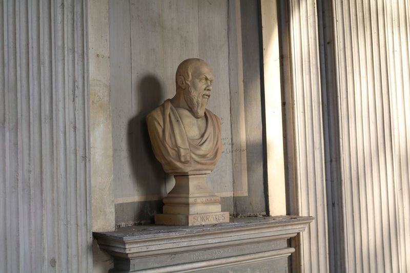 Bust by wall in museum