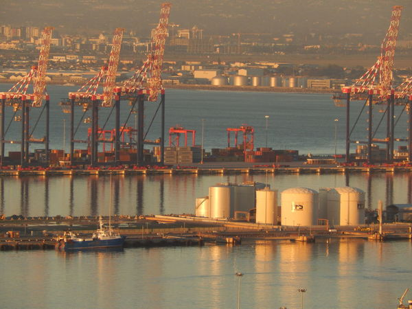 Cape Town Cape Town Harbour Commercial Dock Container Ship Containers Containership Cranes Harbour Harbour View Reflection Sea Ships South Africa Waterfront
