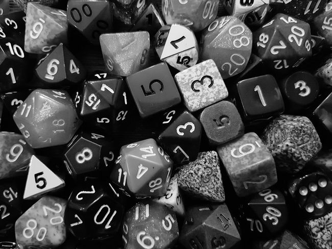 Pile of Dice, B&W Roll D20 Blackandwhite Close-up Games Play Game Dice Number D&D Dungeons And Dragons Collection Large Group Of Objects