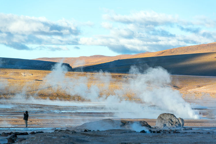 Geyser On Desert